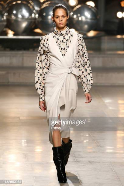 A model walks the runway at the Isabel Marant show at Paris Fashion Week Autumn/Winter 2019/20 on February 28 2019 in Paris France