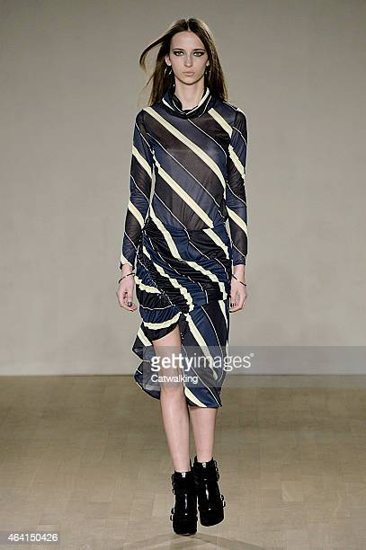 A model walks the runway at the Issa Autumn Winter 2015 fashion show during London Fashion Week on February 22 2015 in London United Kingdom