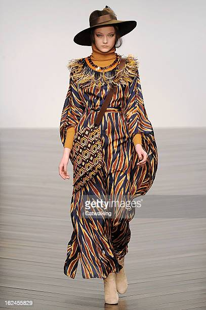 A model walks the runway at the Issa London Autumn Winter 2013 fashion show during London Fashion Week on February 16 2013 in London United Kingdom