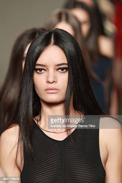 A model walks the runway at the Issa show during London Fashion Week Fall/Winter 2015/16 at One Great George Street on February 22 2015 in London...
