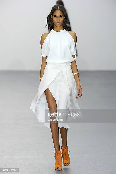 A model walks the runway at the Issa Spring Summer 2016 fashion show during London Fashion Week on September 20 2015 in London United Kingdom