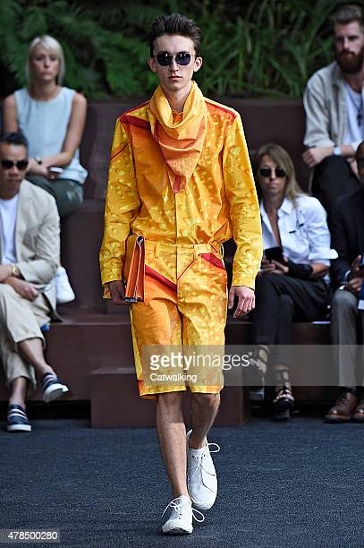 A model walks the runway at the Issey Miyake Men Spring Summer 2016 fashion show during Paris Menswear Fashion Week on June 25 2015 in Paris France