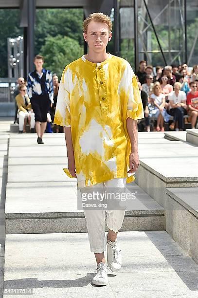 A model walks the runway at the Issey Miyake Men Spring Summer 2017 fashion show during Paris Menswear Fashion Week on June 23 2016 in Paris France