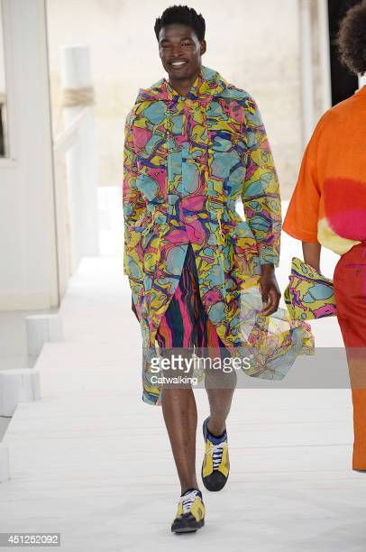 A model walks the runway at the Issey Miyake Spring Summer 2015 fashion show during Paris Menswear Fashion Week on June 26 2014 in Paris France