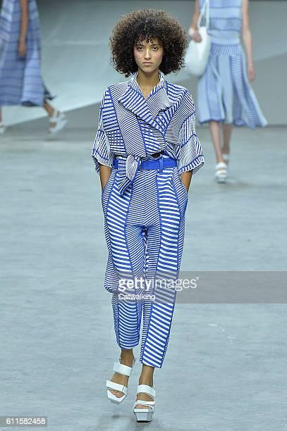 Model walks the runway at the Issey Miyake Spring Summer 2017 fashion show during Paris Fashion Week on September 30, 2016 in Paris, France.