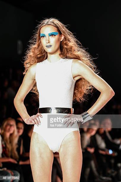 Model walks the runway at the It's Showtime Maybelline New York 100th Anniversary show during the MercedesBenz Fashion Week Berlin Autumn/Winter...