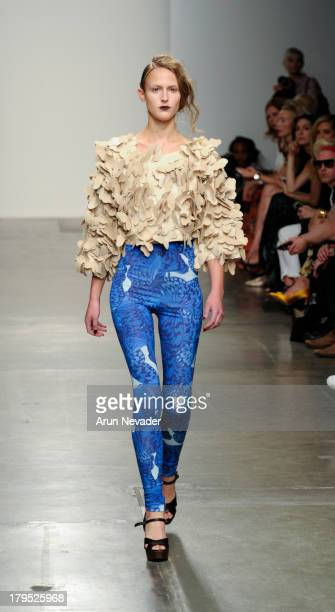 Model walks the runway at the Ivana Helsinki fashion show during Mercedes-Benz Fashion Week Spring 2014 at Pier 59 on September 4, 2013 in New York...