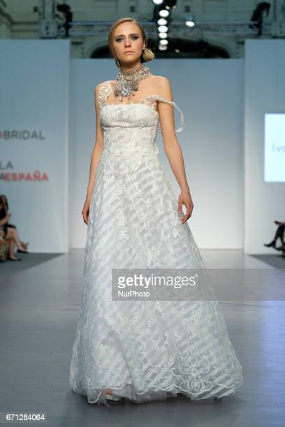 A model walks the runway at the Ivana Picallo show during the Madrid Bridal Week 2017 at Palacio de Cibeles on April 21 2017 in Madrid Spain