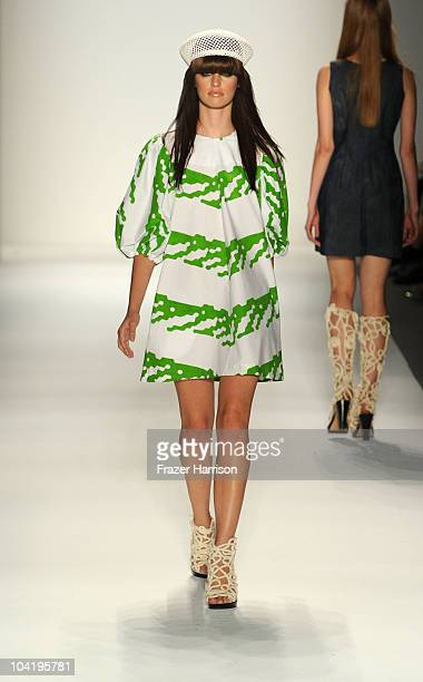 A model walks the runway at the IVANAhelsinki Spring 2011 fashion show during MercedesBenz Fashion Week at The Studio at Lincoln Center on September...