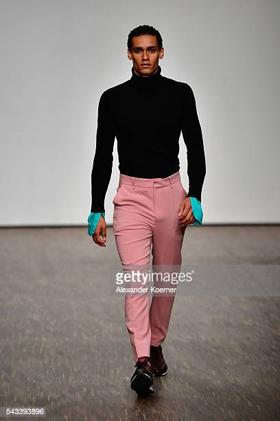 A model walks the runway at the Ivanman show during the MercedesBenz Fashion Week Berlin Spring/Summer 2017 at Stage at me Collectors Room on June 28...