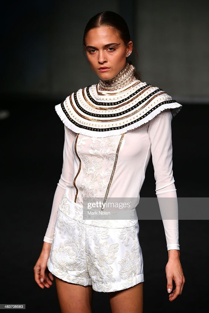 A model walks the runway at the Ixiah show during Mercedes-Benz Fashion Week Australia 2014 at Carriageworks on April 10, 2014 in Sydney, Australia.