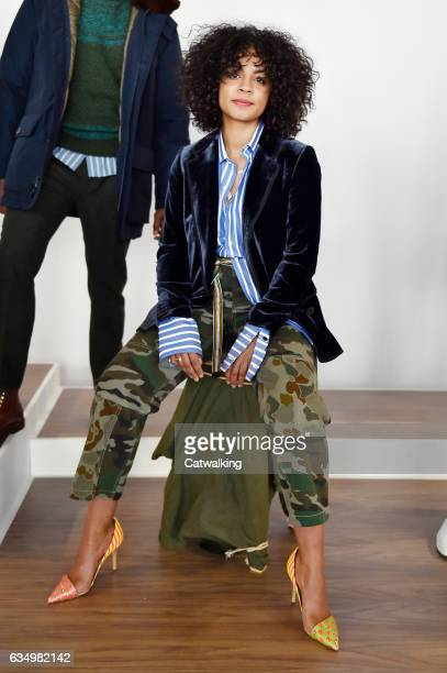 A model walks the runway at the J Crew Autumn Winter 2017 fashion show during New York Fashion Week on February 12 2017 in New York United States