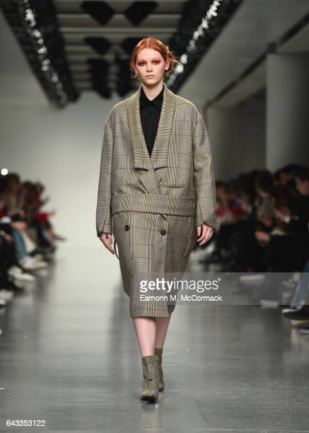 A model walks the runway at the J JS Lee show during the London Fashion Week February 2017 collections on February 21 2017 in London England