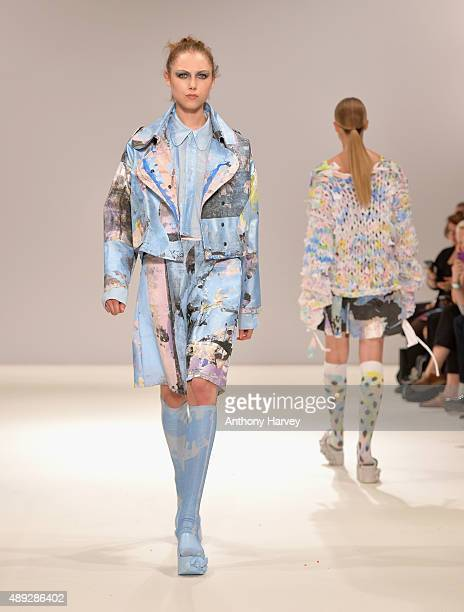Model walks the runway at the J. S. Shin Ones to Watch show at Fashion Scout during London Fashion Week Spring/Summer 2016 on September 18, 2015 in...