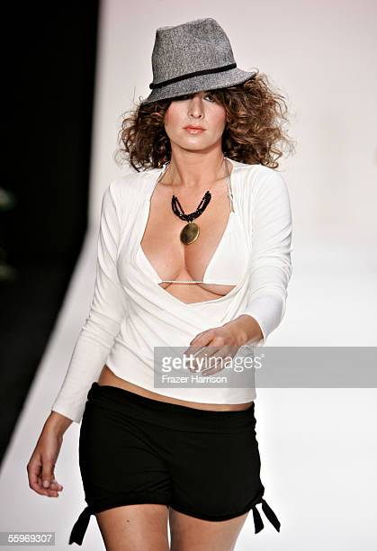 A model walks the runway at the J'aime/Maddie Spring 2006 show during MercedesBenz Fashion Week at Smashbox Studios on October 19 2005 in Culver City...