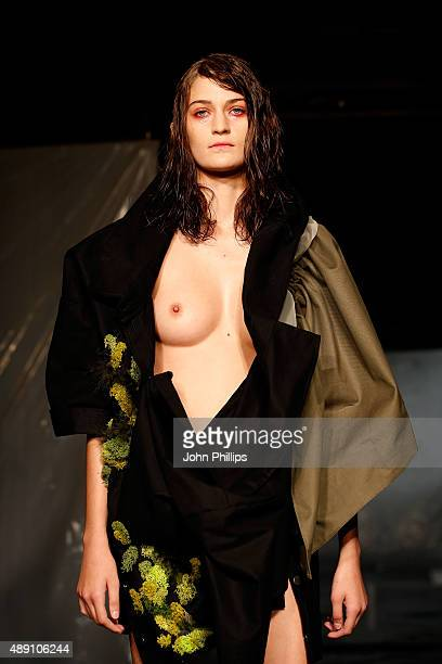 A model walks the runway at the James Kelly show at Fashion Scout during London Fashion Week Spring/Summer 2016 on September 19 2015 in London England