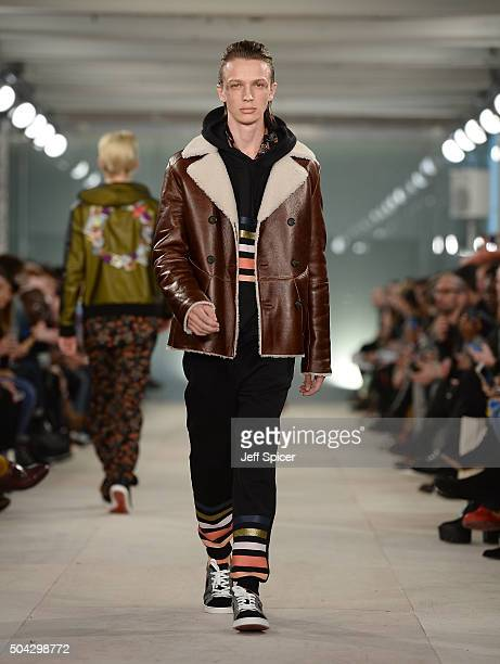 A model walks the runway at the James Long show during The London Collections Men AW16 at 180 The Strand on January 10 2016 in London England