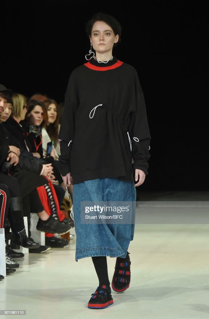 A model walks the runway at the Jamie Wei Huang presentation during London Fashion Week February 2018 on February 20, 2018 in London, England.
