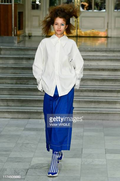 Model walks the runway at the Jamie Wei Huang Ready to Wear Spring/Summer 2020 fashion show during London Fashion Week September 2019 on September...