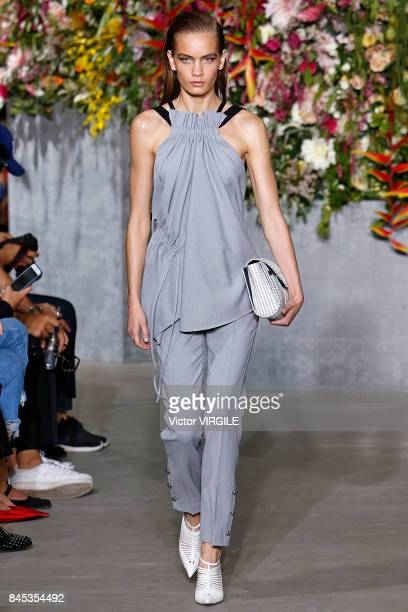 Model walks the runway at the Jason Wu Ready to Wear Spring/Summer 2018 fashion show during the New York Fashion Week on September 8, 2017 in New...