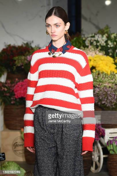 Model walks the runway at the Jason Wu Runway during New York Fashion Week: The Shows on February 14, 2021 in New York City.