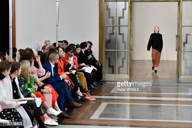 A model walks the runway at the Jasper Conran Ready to Wear Fall/Winter 20192010 fashion show during London Fashion Week February 2019 on February 16...