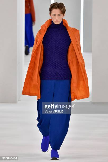 A model walks the runway at the Jasper Conran Ready to Wear Fall/Winter 20182019 fashion show during London Fashion Week February 2018 on February 17...