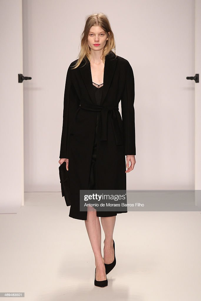 A model walks the runway at the Jasper Conran show at London Fashion Week AW14 at Saatchi Gallery on February 15, 2014 in London, England.