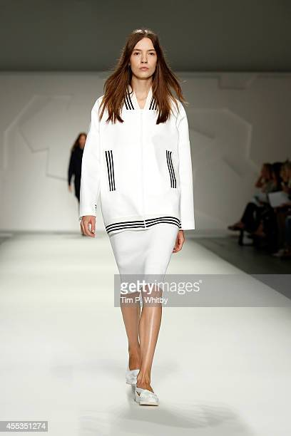 A model walks the runway at the Jasper Conran show during London Fashion Week Spring Summer 2015 at Somerset House on September 13 2014 in London...