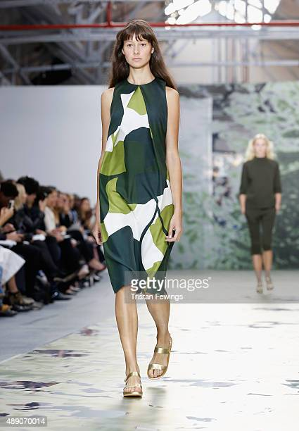 Model walks the runway at the Jasper Conran show during London Fashion Week Spring/Summer 2016 on September 19, 2015 in London, England.