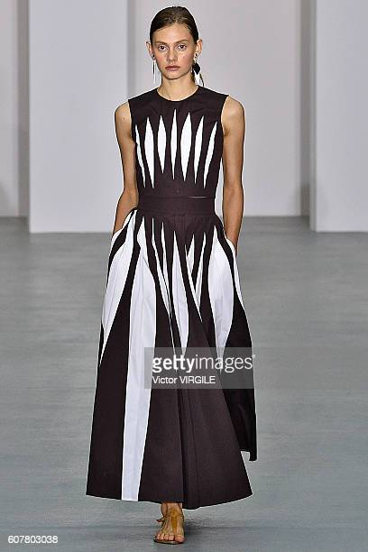 A model walks the runway at the Jasper Conran show during London Fashion Week Spring/Summer collections 2016/2017 on September 17 2016 in London...