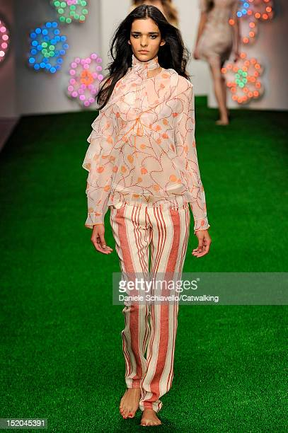 Model walks the runway at the Jasper Conran Spring Summer 2013 fashion show during London Fashion Week on September 15, 2012 in London, United...