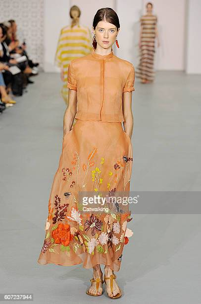 A model walks the runway at the Jasper Conran Spring Summer 2017 fashion show during London Fashion Week on September 17 2016 in London United Kingdom