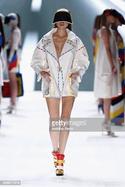 A model walks the runway at the JC de Castelbajac show during the MercedesBenz Fashion Days Zurich 2014 on November 13 2014 in Zurich Switzerland
