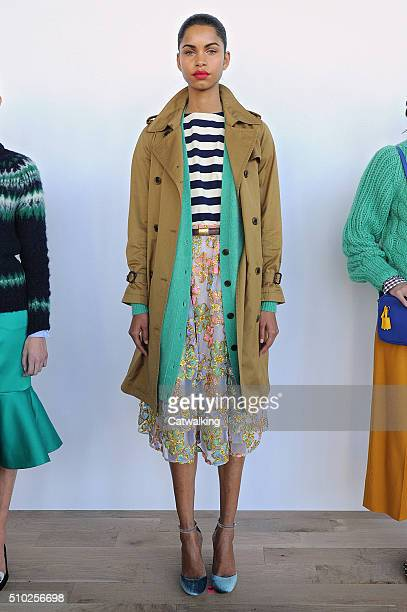 A model walks the runway at the JCrew Autumn Winter 2016 fashion show during New York Fashion Week on February 14 2016 in New York United States
