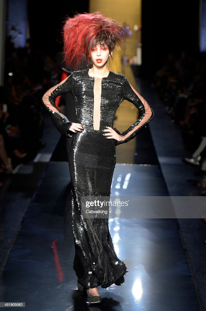 A model walks the runway at the Jean Paul Gaultier Autumn Winter 2014 fashion show during Paris Haute Couture Fashion Week on July 9, 2014 in Paris, France.