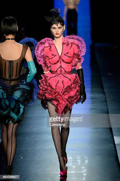 A model walks the runway at the Jean Paul Gaultier Spring Summer 2014 fashion show during Paris Haute Couture Fashion Week on January 22 2014 in...