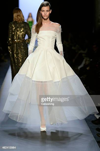 Model walks the runway at the Jean Paul Gaultier Spring Summer 2015 fashion show during Paris Haute Couture Fashion Week on January 28, 2015 in...