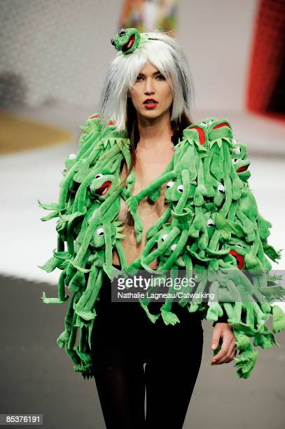 A model walks the runway at the JeanCharles de Castelbajac ReadytoWear A/W 2009 fashion show during Paris Fashion Week at Le Carrousel du Louvre on...