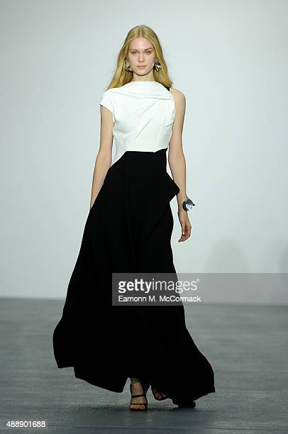 A model walks the runway at the JeanPierre Braganza show during London Fashion Week Spring/Summer 2016 on September 18 2015 in London England