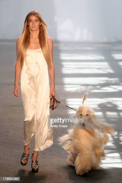 A model walks the runway at the Jen Kao fashion show during MercedesBenz Fashion Week Spring 2014 at Skylight at Moynihan Station on September 7 2013...