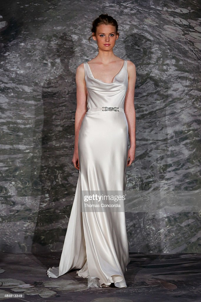 A model walks the runway at the Jenny Lee Spring 2015 Bridal collection show at The Waldorf Astoria on April 12, 2014 in New York City.
