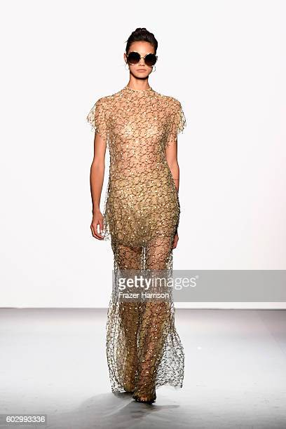 A model walks the runway at the Jenny Packham fashion show during New York Fashion Week The Shows at The Dock Skylight at Moynihan Station on...