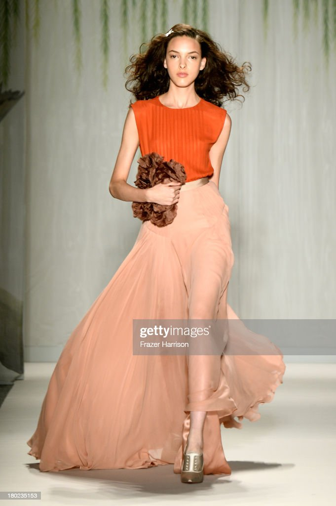 A model walks the runway at the Jenny Packham fashion show during Mercedes-Benz Fashion Week Spring 2014 on September 10, 2013 in New York City.
