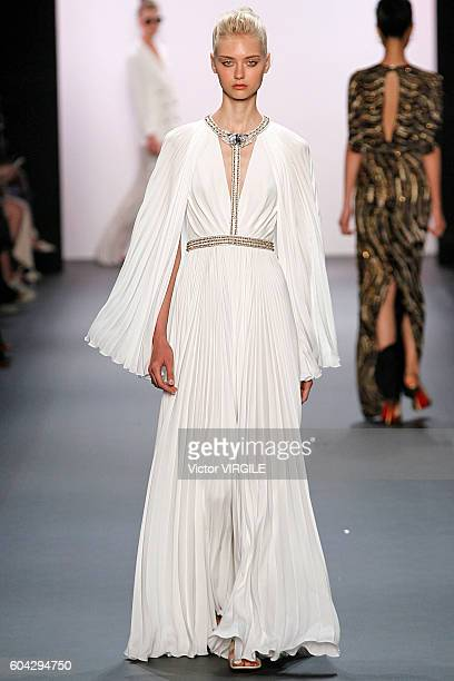 A model walks the runway at the Jenny Packham Ready to Wear Spring Summer 2017 fashion show during New York Fashion Week on September 11 2016 in New...