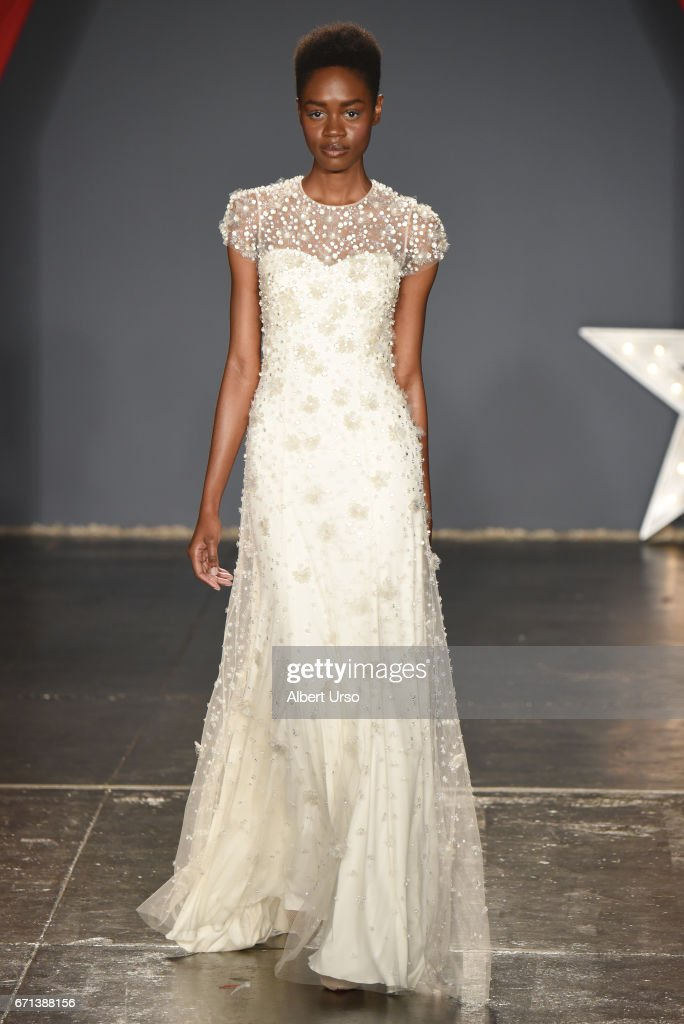 A model walks the runway at the Jenny Packham show during New York Fashion Week: Bridal on April 21, 2017 in New York City.