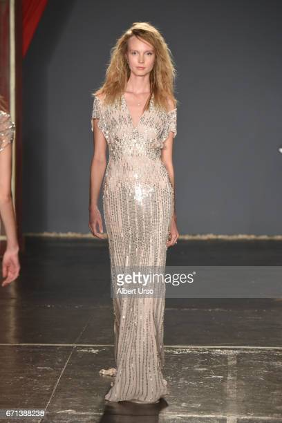 A model walks the runway at the Jenny Packham show during New York Fashion Week Bridal on April 21 2017 in New York City