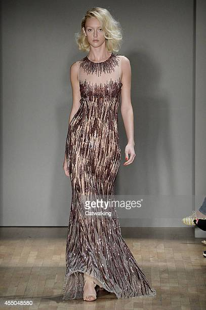 A model walks the runway at the Jenny Packham Spring Summer 2015 fashion show during New York Fashion Week on September 9 2014 in New York United...