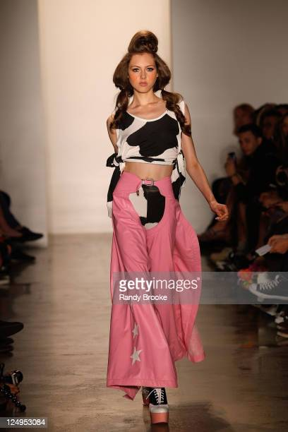 Model walks the runway at the Jeremy Scott 2012 fashion show during Mercedes-Benz Fashion Week Spring 2012 at Milk Studios on September 14, 2011 in...