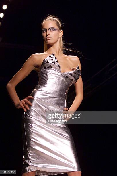 A model walks the runway at the Jeremy Scott Fall 2002 fashion show at Bryant Park during the MercedesBenz Fashion Week Feb 15 2002 Photo Evan...